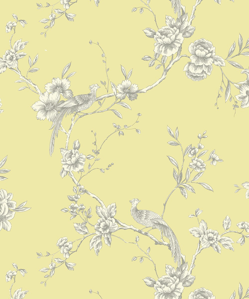 Arthouse Chinoise Yellow Wallpaper 422804   Feature Exotic Birds 1000x1200