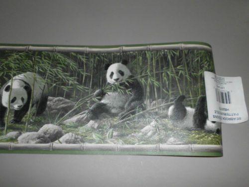 Wildlife Panda Bears Bamboo Decorative Wallpaper Border Prepasted NEW 500x375