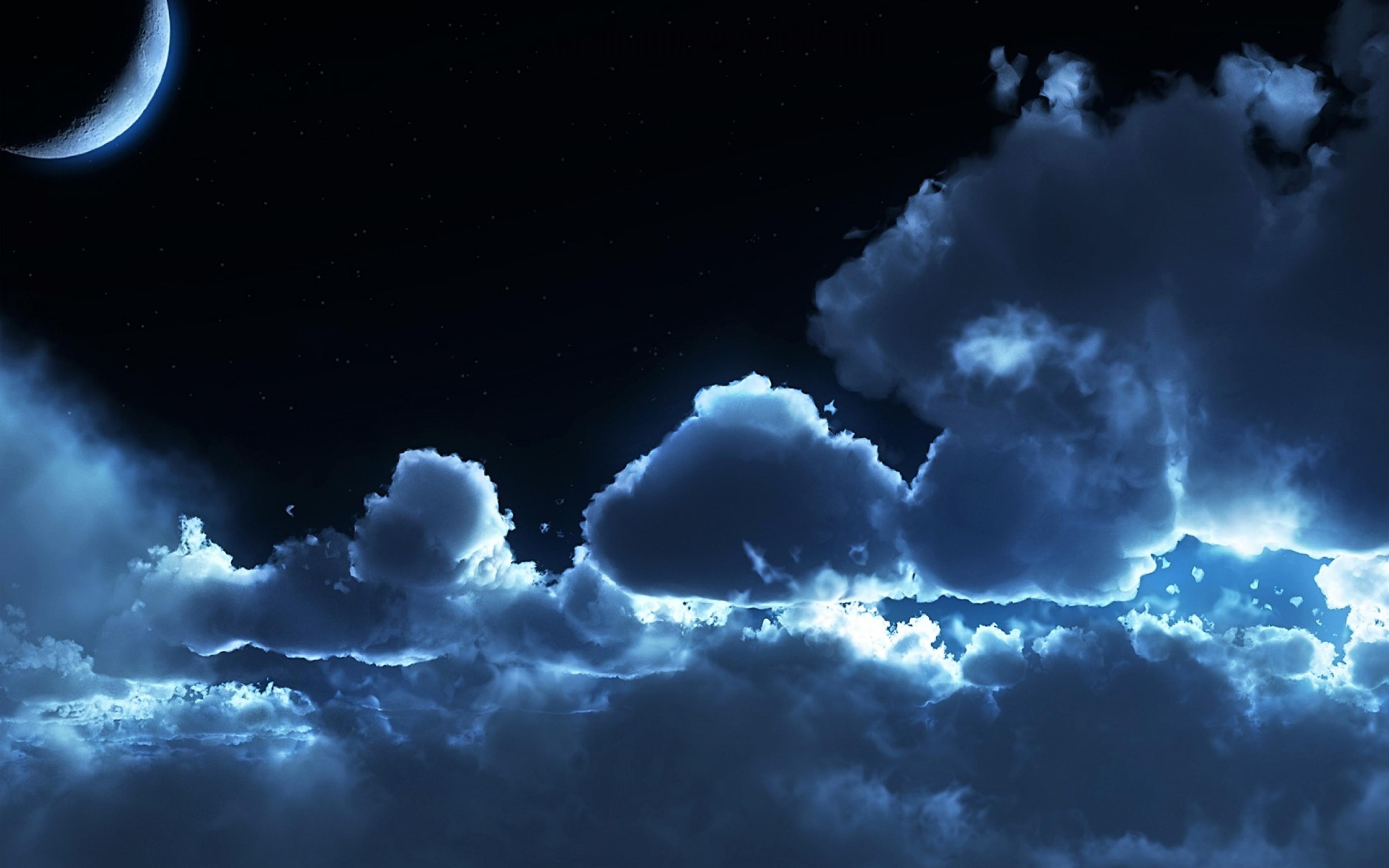 3840x2400 Sky Night Clouds Air Stars Moon Tranquillity Wallpaper 3840x2400