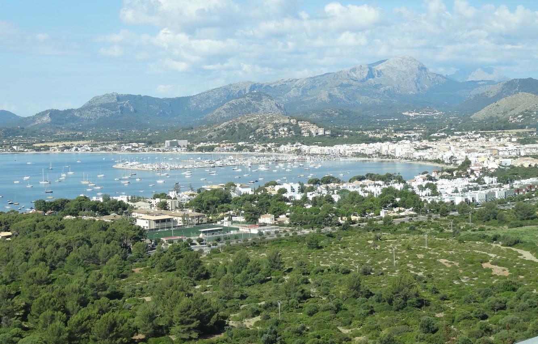Wallpaper sea mountains Bay yacht port panorama Mallorca 1332x850
