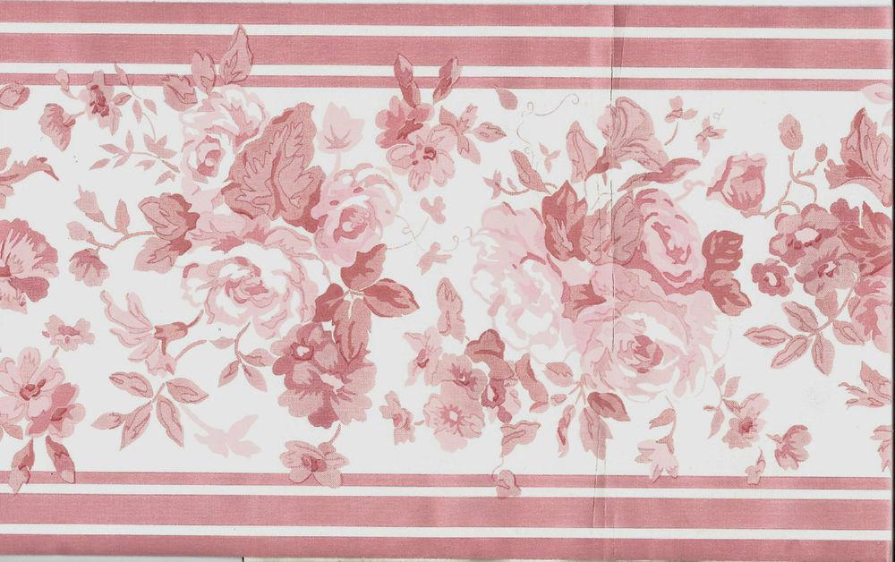 Vintage Chic Pink Roses on White Wallpaper Border eBay 1000x628