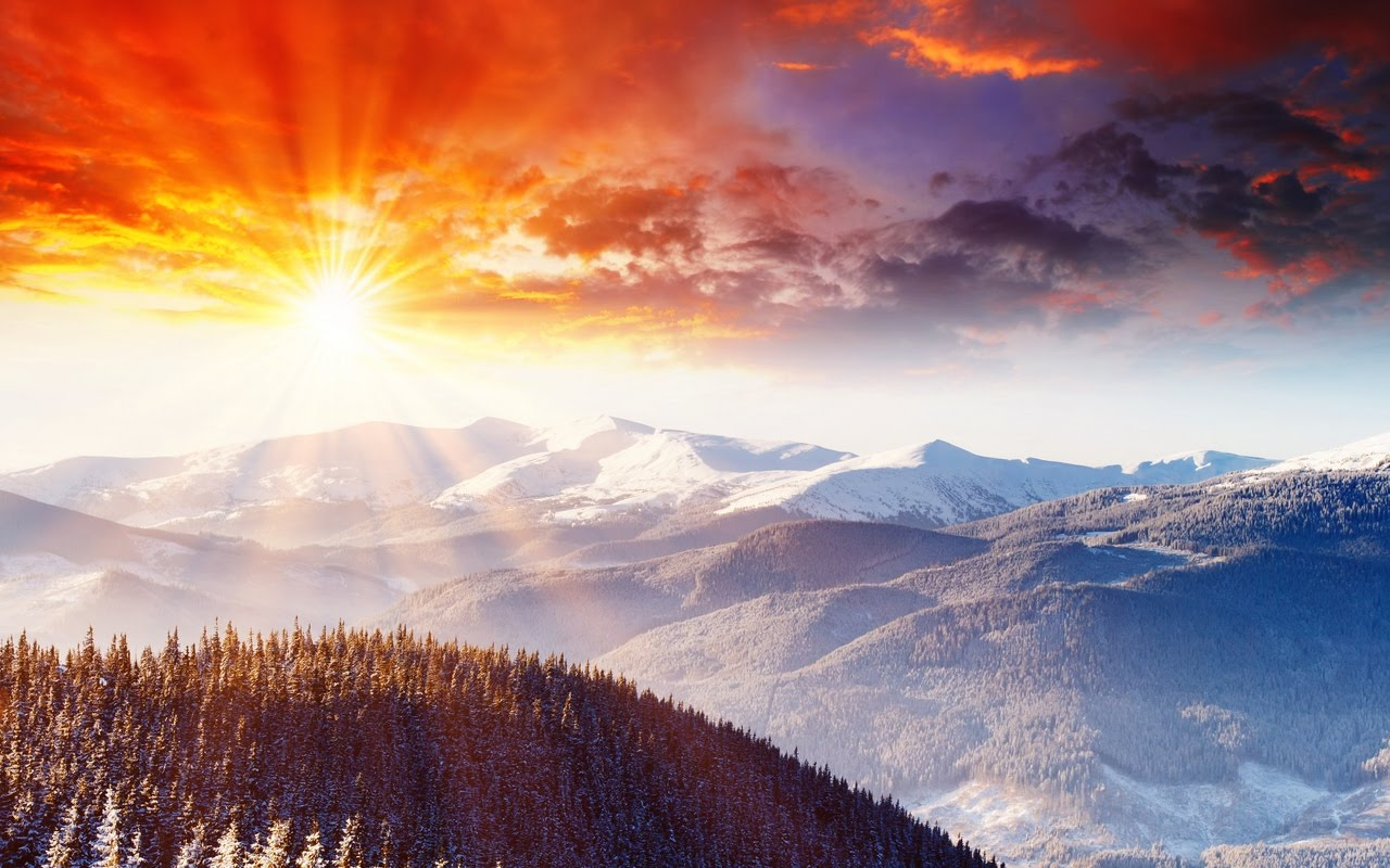 Beautiful Winter Sunset Landscape Hd Desktop Wallpaper 1280x800