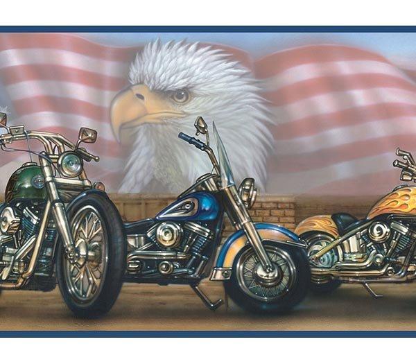 HARLEY DAVIDSON MOTORCYCLE FLAG WALLPAPER WALL BORDER 600x525