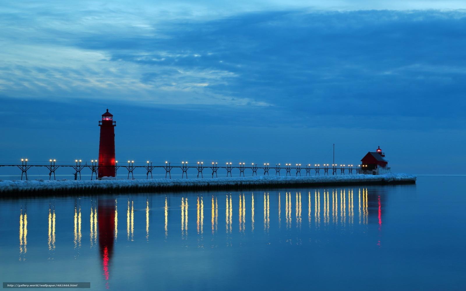 wallpaper lake michigan night lighthouse desktop wallpaper 1600x1000