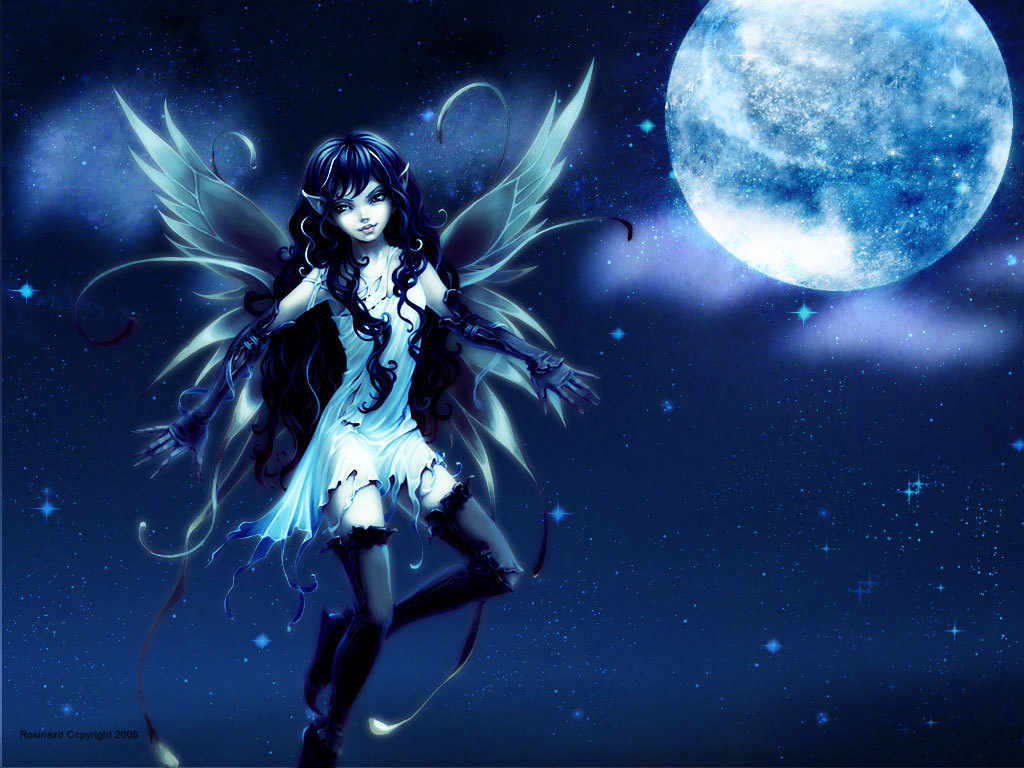 Under The Moon   Fairies Wallpaper 10270244 1024x768