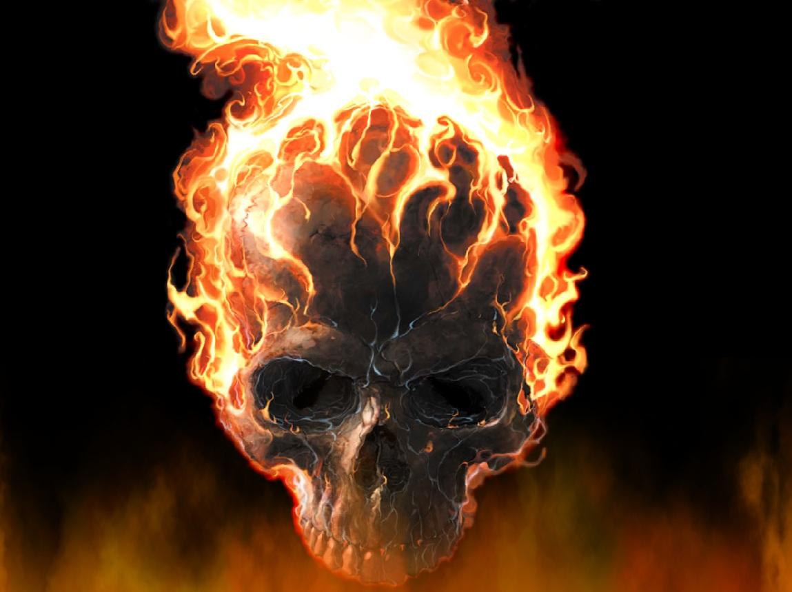 Skull and Flame Wallpaper - WallpaperSafari