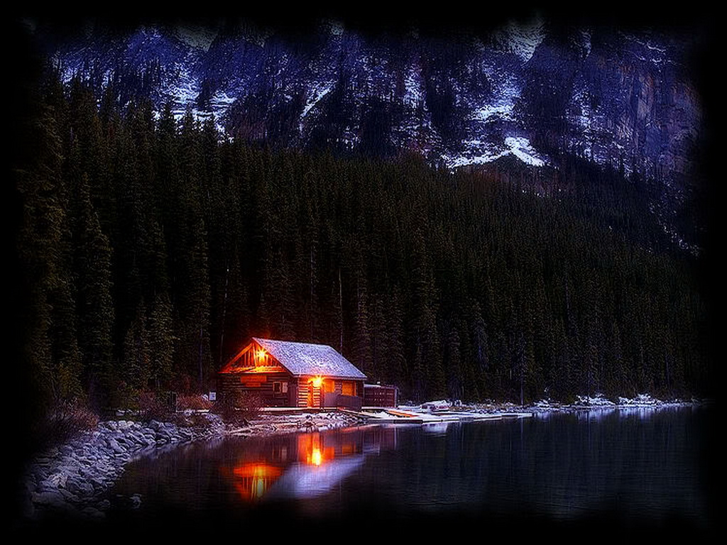 Cabin Glow Alaska Winter Cupid valley Niigata japan Finland Wallpapers 1024x768