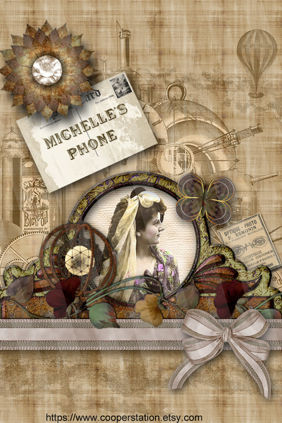 to Personalized iPhone 4 Steampunk Digital Wallpapers DPW001 on Etsy 570x855