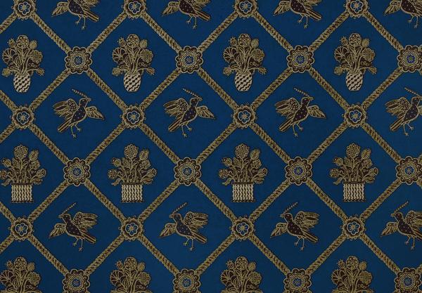 Rope Trellis Wallpaper   Royal Blue Black Gold Metallic 600x417