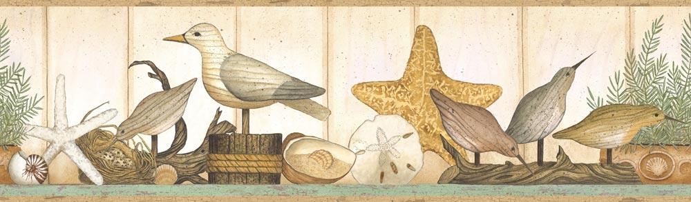 Shelf Wallpaper Border sandpipers nautical beach decor SM05091B 1000x293