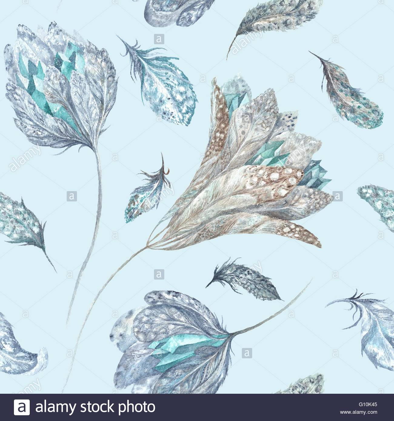 Seamless boho chic texture with feathers flowers and crystals on 1300x1390
