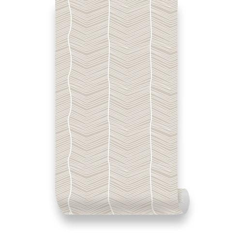 Striped Beige Removable Fabric WallPaper   Pinknbluebabycom 500x500