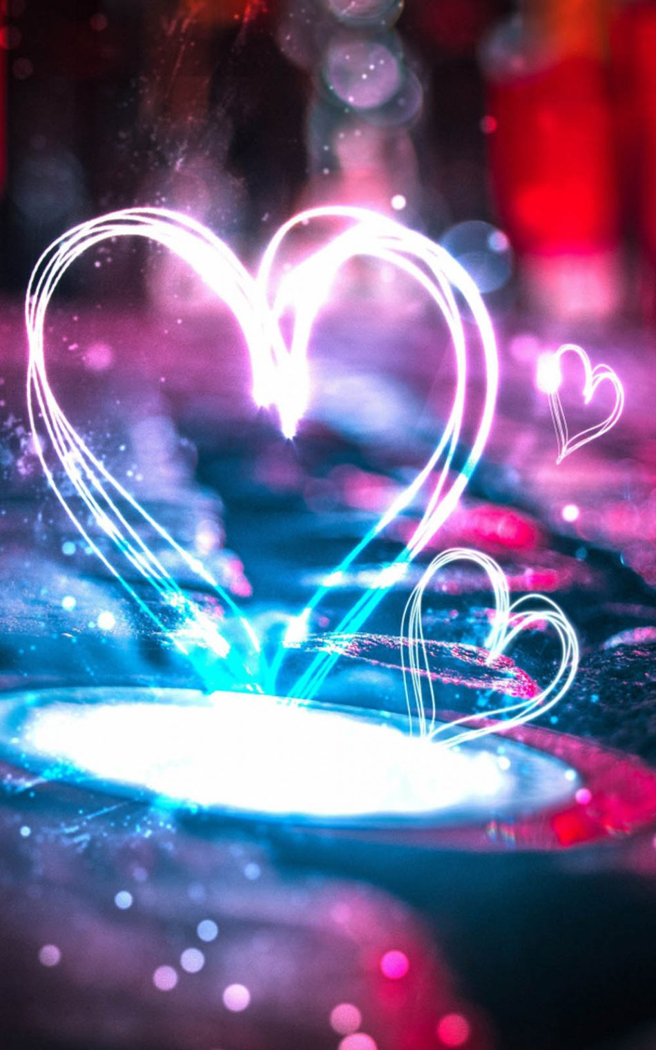 Download Heart Shape Lights Pure 4K Ultra HD Mobile Wallpaper 950x1520