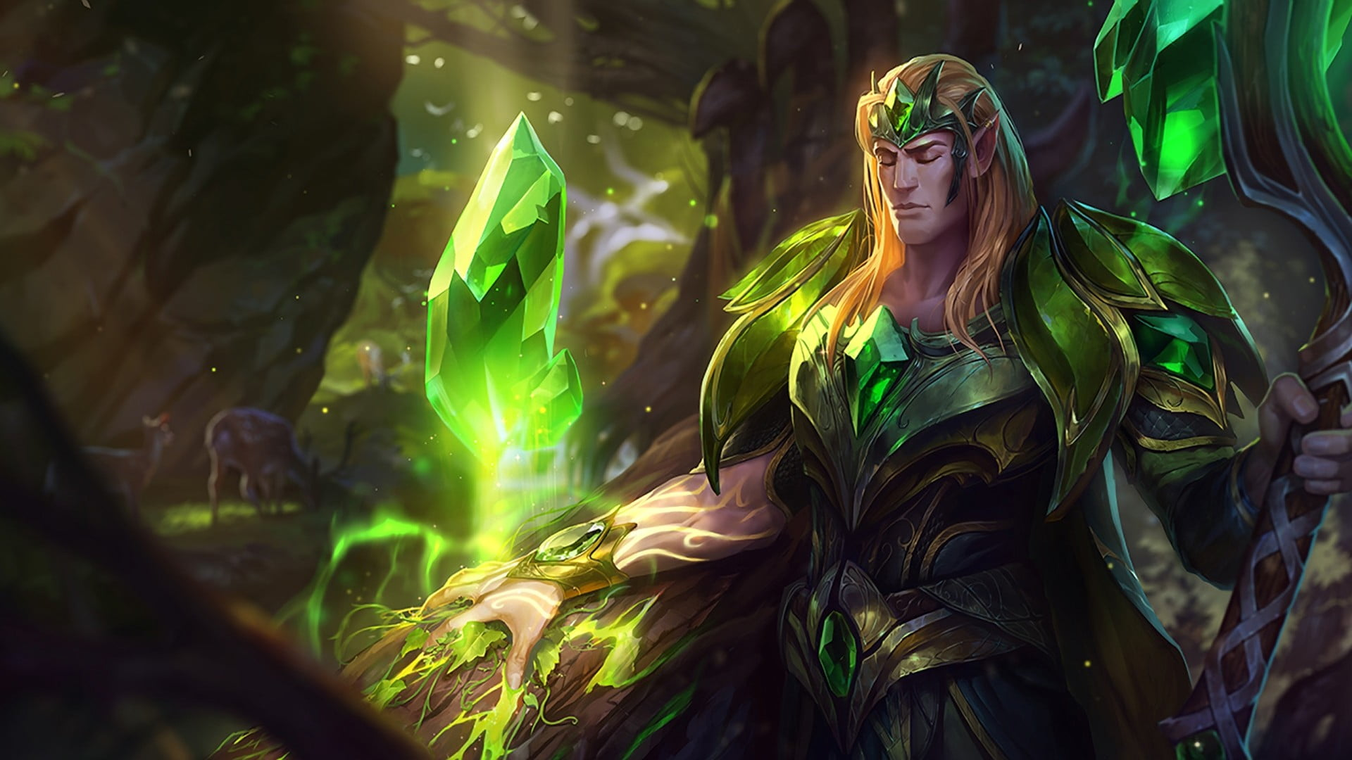 Green and black floral textile League of Legends Taric HD 1920x1080