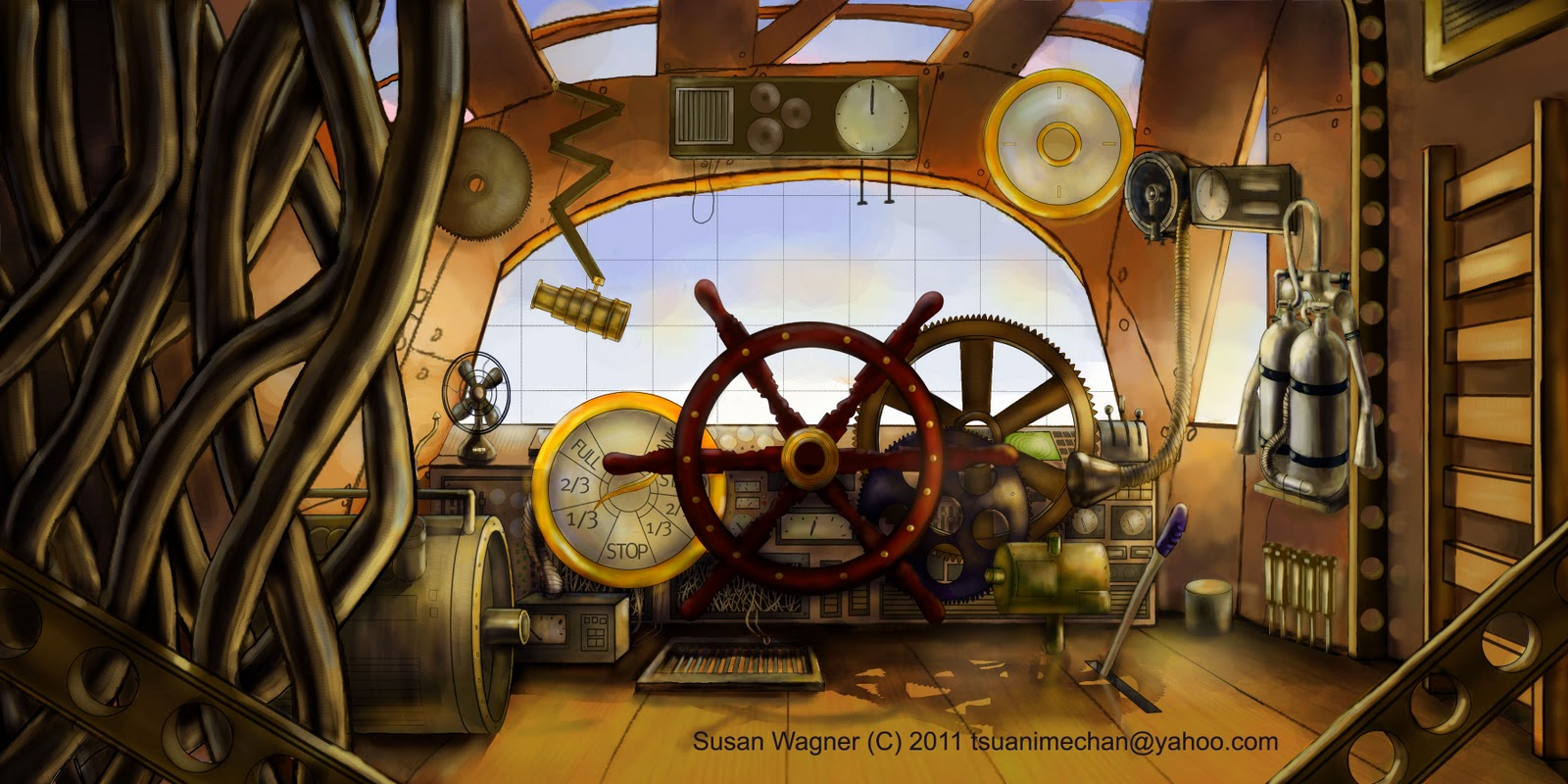 Susans Animations and Illustrations Steampunk Airship 1600x800