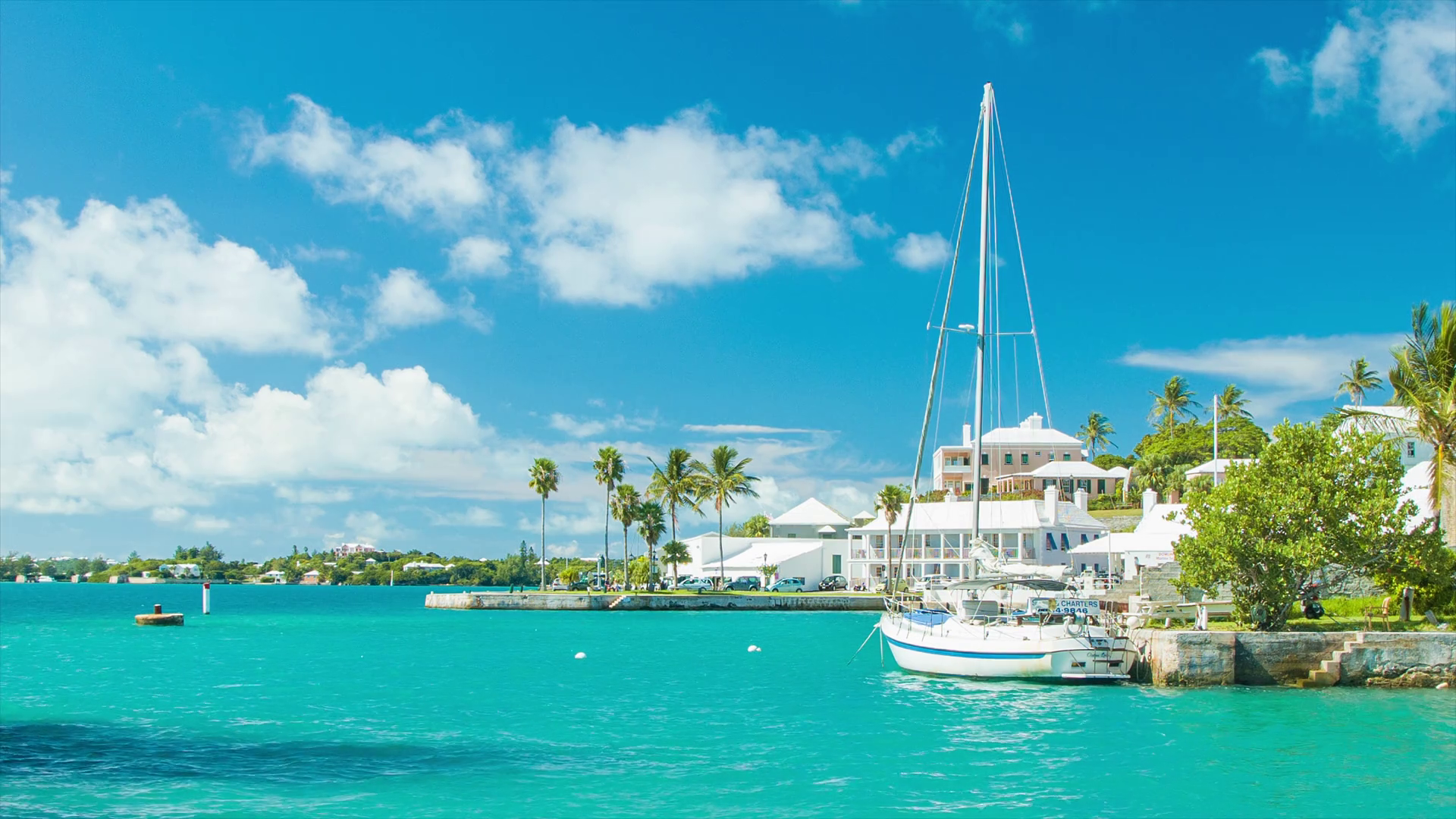 St Georges Harbor in Bermuda on a Sunny Day with a Ferry Crossing 1920x1080