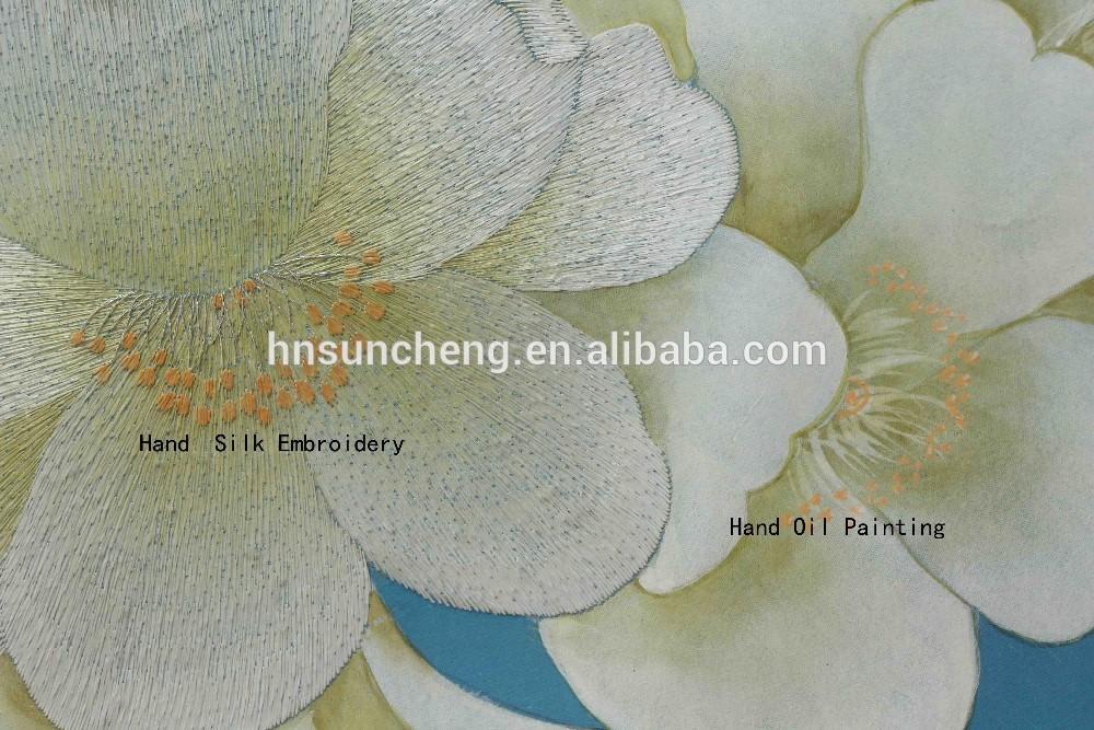 Hand painted silk embriodery wallpaper 3D silk art 100 handmade 1000x667