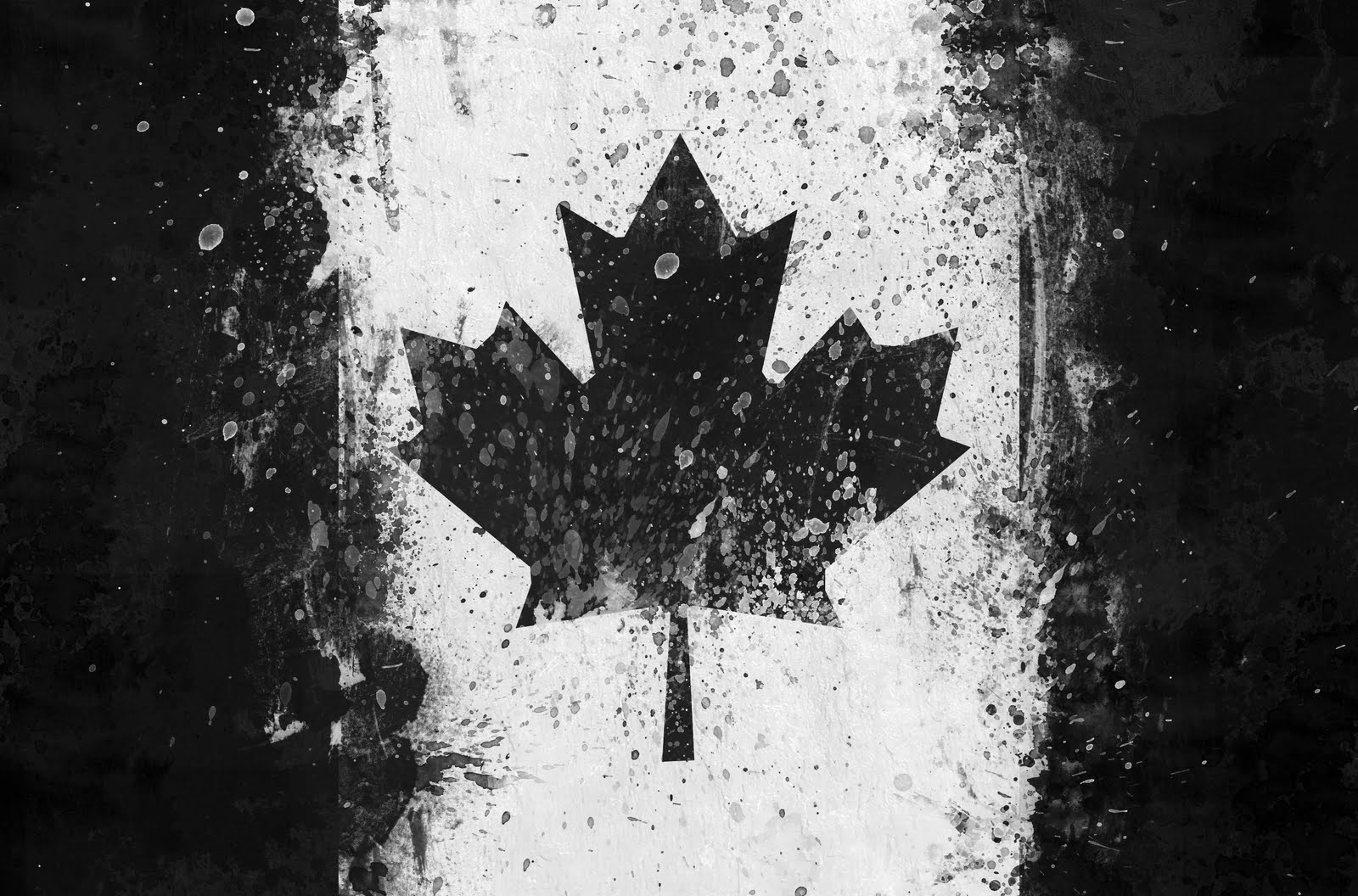 Canadian Flag Black and White A Celebrity Mag 1600x1056