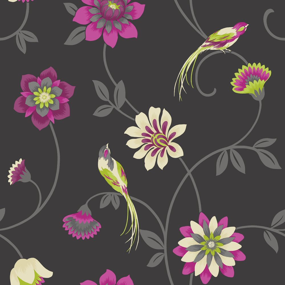 Group Of Black With Pink Flowers Wallpaper For Walls