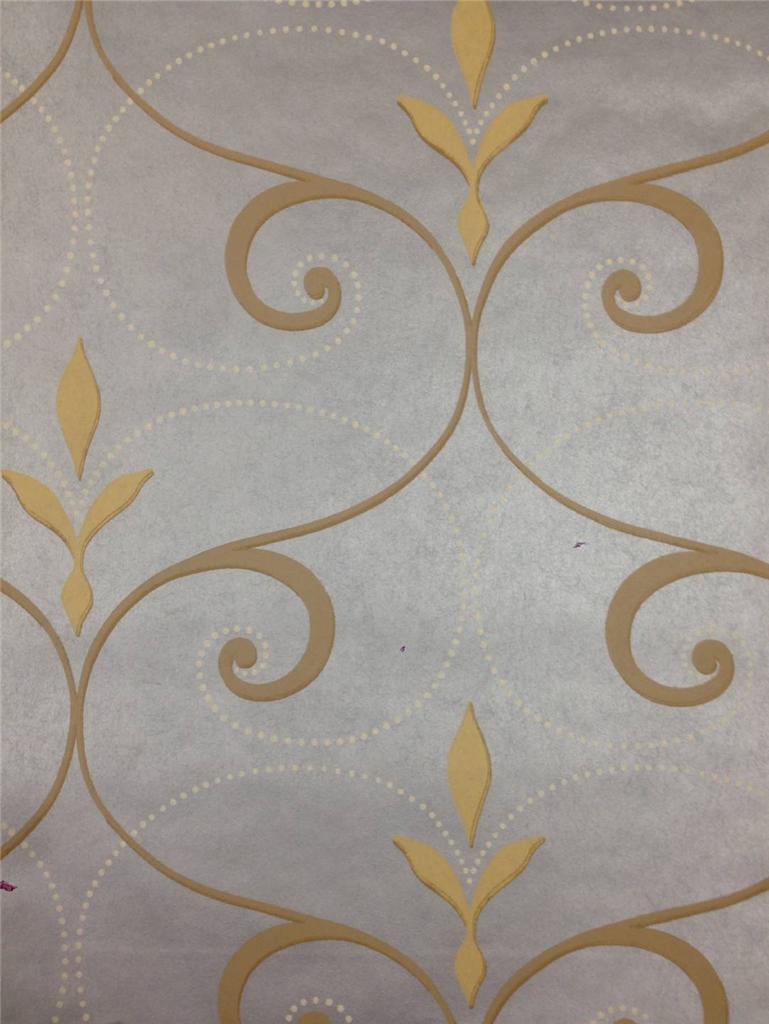 Wallpaper Designer Big Fleur de Lis Scroll Trellis Metallic Silver 769x1024