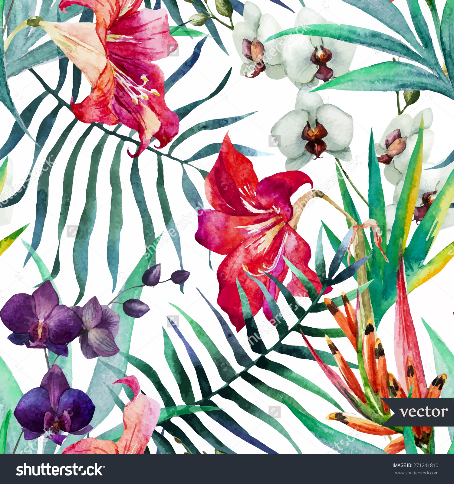 Free Download Watercolor Tropical Pattern Wallpaper