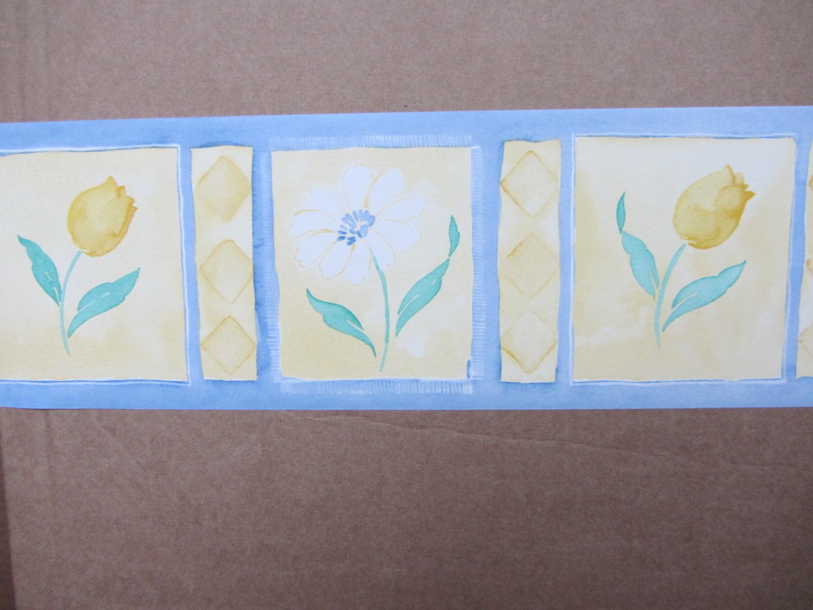 CASCADE BLUE WALLPAPER BORDER SELF ADHESIVE BEDROOM LEMON YELLOW 5 x 1600x1200