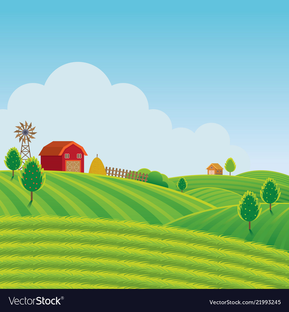 Farm on hill with green field background Vector Image 1000x1080