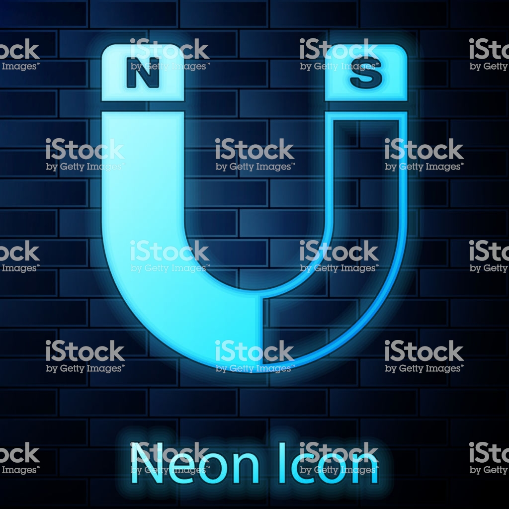 Glowing Neon Magnet Icon Isolated On Brick Wall Background 1024x1024