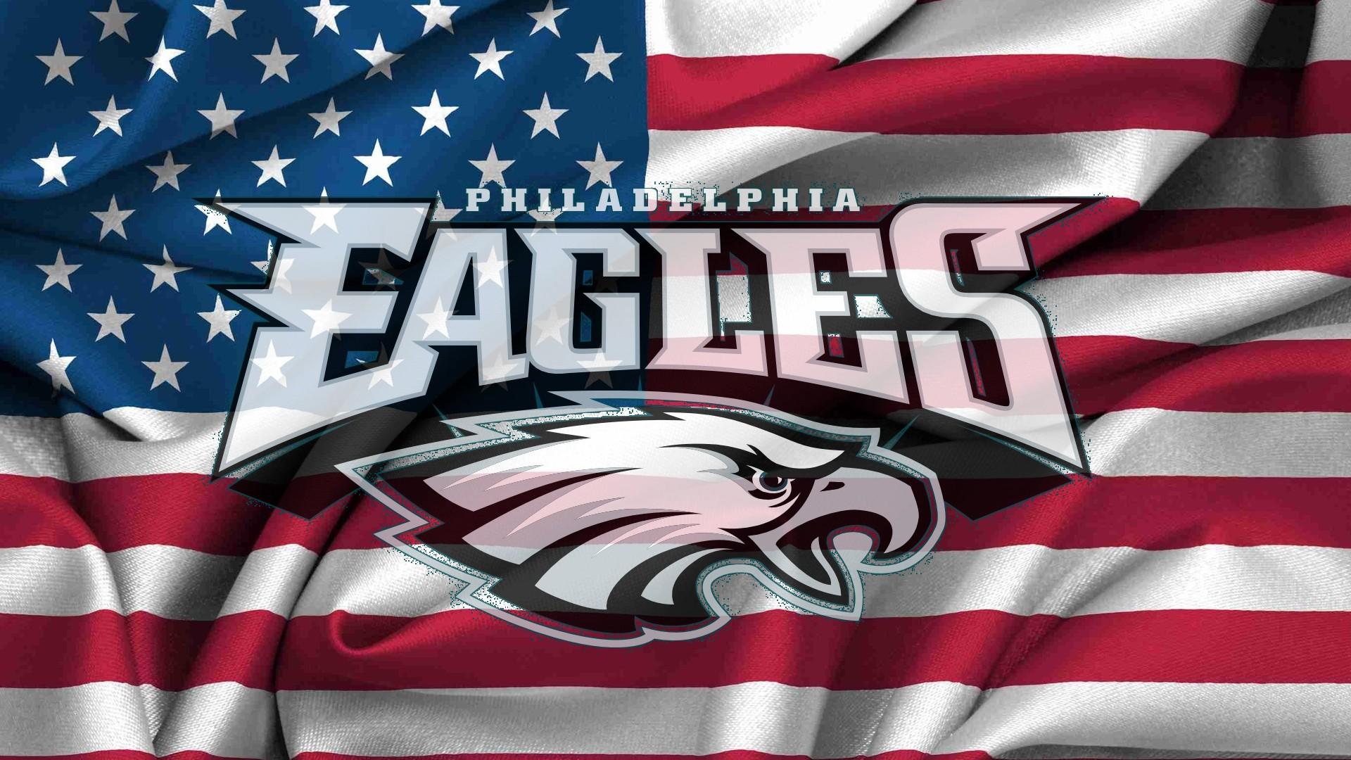 Philadelphia Eagles Logo On Usa Flag Windy 1920x1080