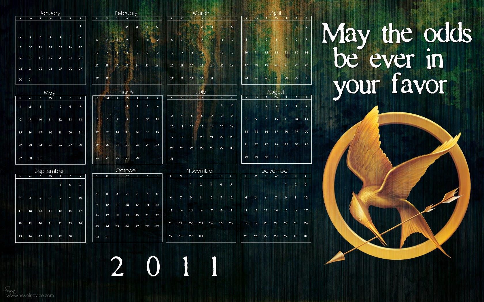 2011 Desktop Wallpaper Calendars for your Favorite Books Novel 1680x1050