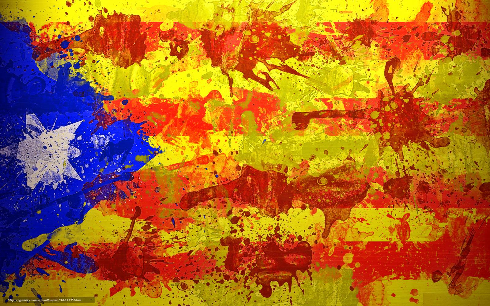 Download wallpaper Estelada Unofficial flag of the Catalan lands 1600x1000