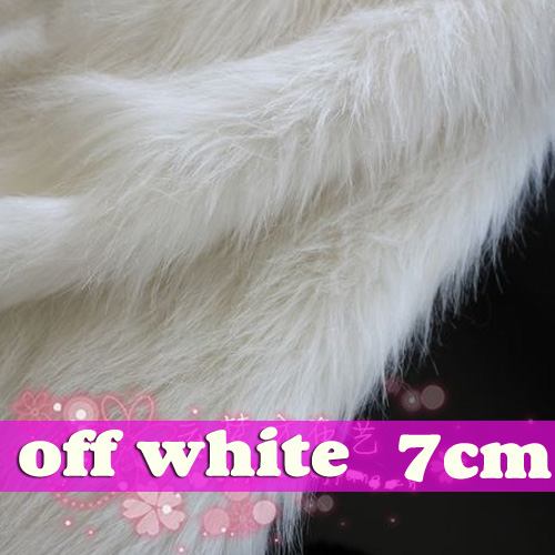 off White SHAGGY FAUX FUR FABRIC LONG PILE FUR displaying background 500x500