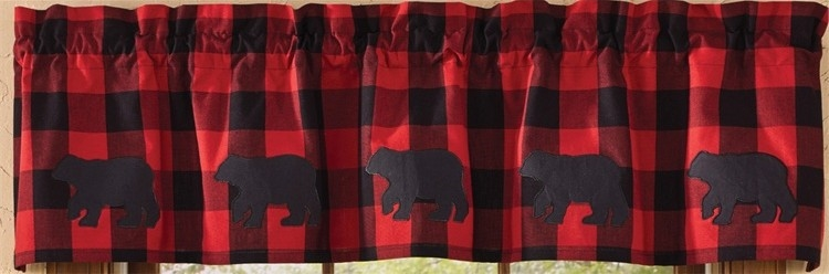 Curtain Valance Red Buffalo Check Cabin Lodge Window Curtain eBay 750x248