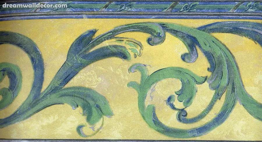 Home Yellow Blue Green Silver Scroll Wallpaper Border 900x489