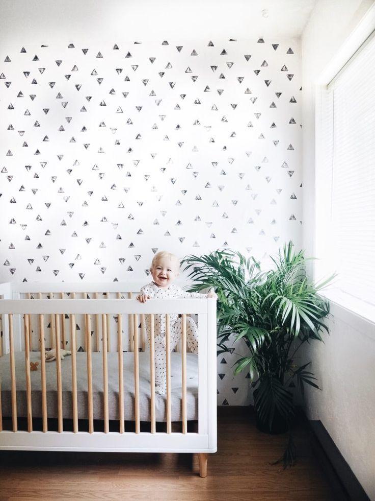 stamped triangle wallpaper in nursery 2019 Boys room wallpaper 736x981
