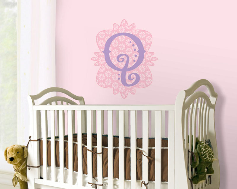 Mod Monogram Peel and Stick Wall Mural in Pink and Purple 800x640