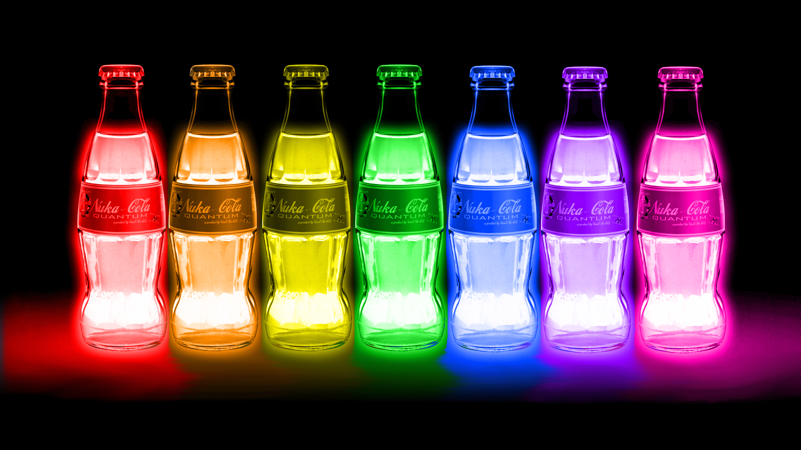 FALLOUT drink nuclear radiation color glow neon wallpaper background 1600x900