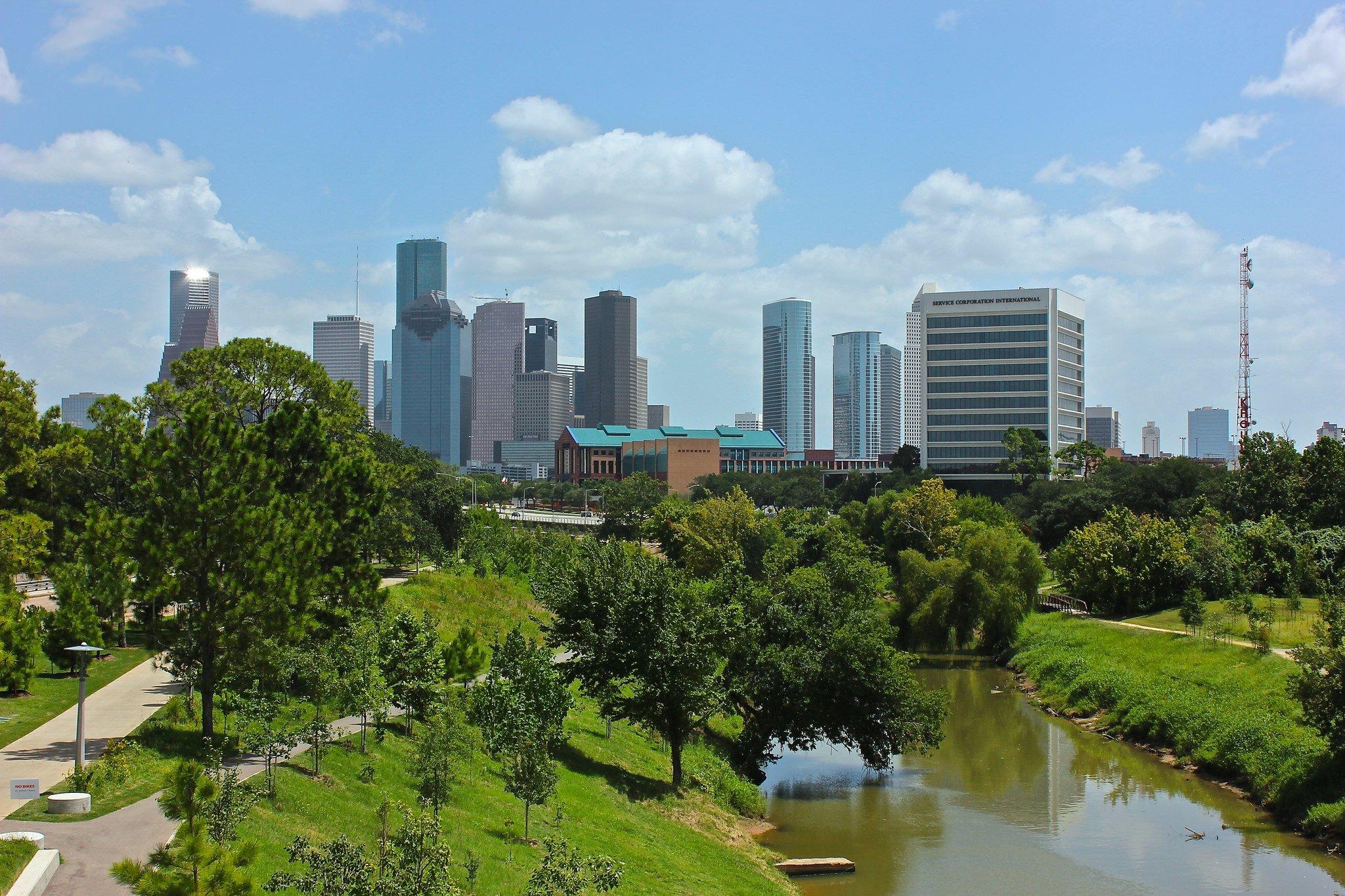 Houston architecture bridges cities City texas Night towers buildings 2048x1365
