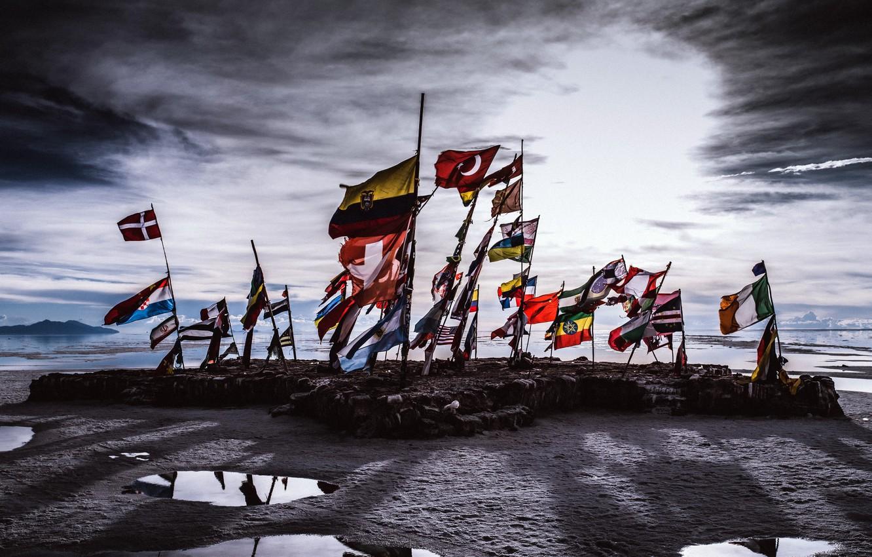 Wallpaper sea shore flags Antarctica images for desktop 1332x850