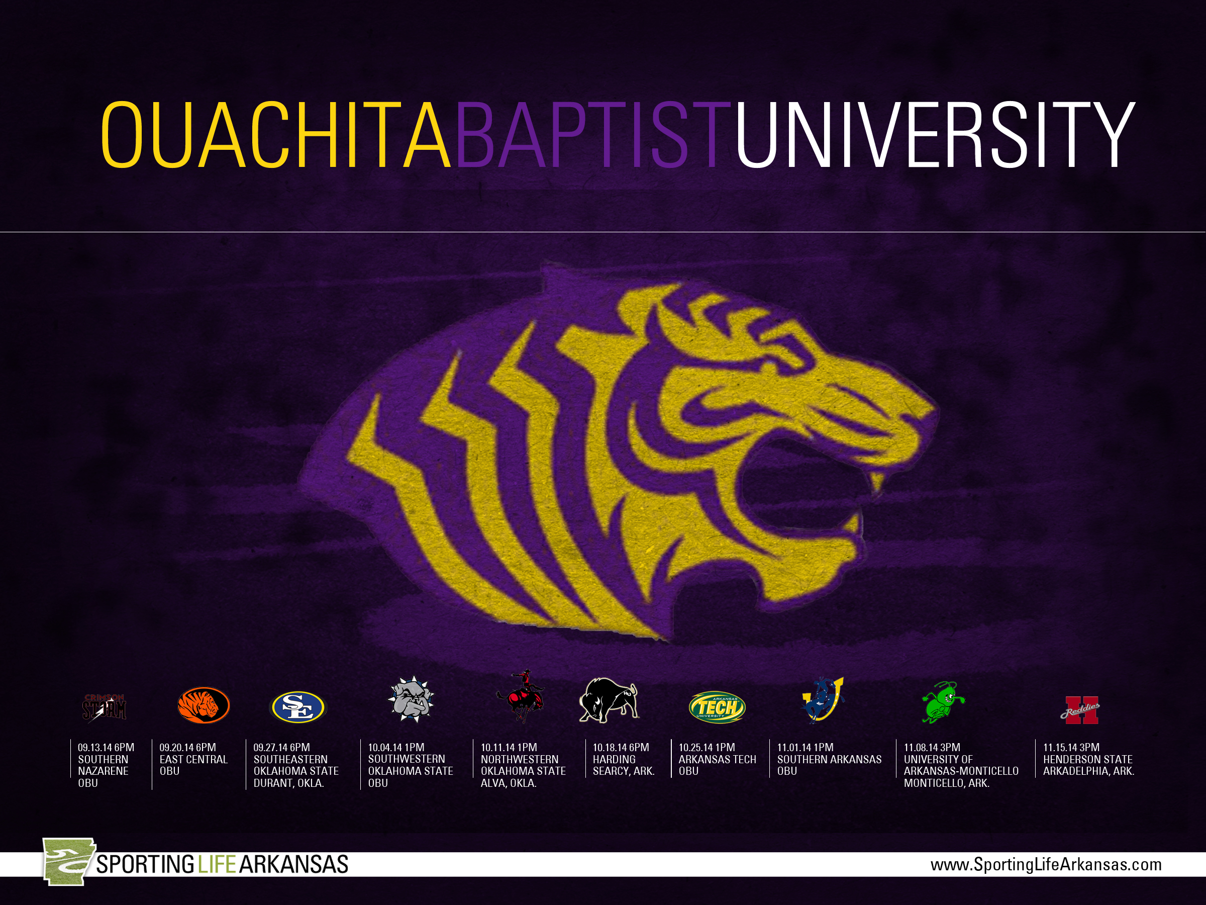 Here is your 2014 Ouachita Baptist Tigers football schedule wallpaper 2400x1800