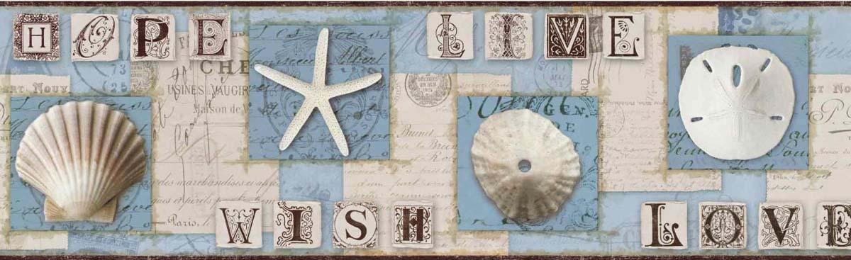 Beach Journal Sand Dollar Starfish Wallpaper Border York Border 1200x367