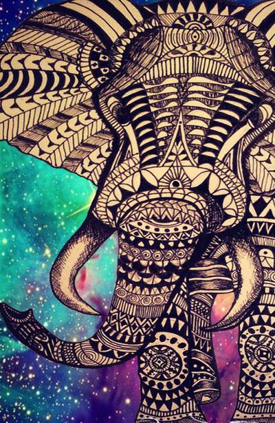 Aztec Elephant Wallpaper Pattern 400x615