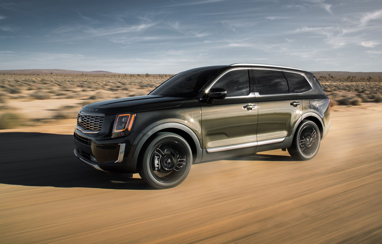 Wallpaper road sand machine speed SUV Kia Telluride images 1332x850