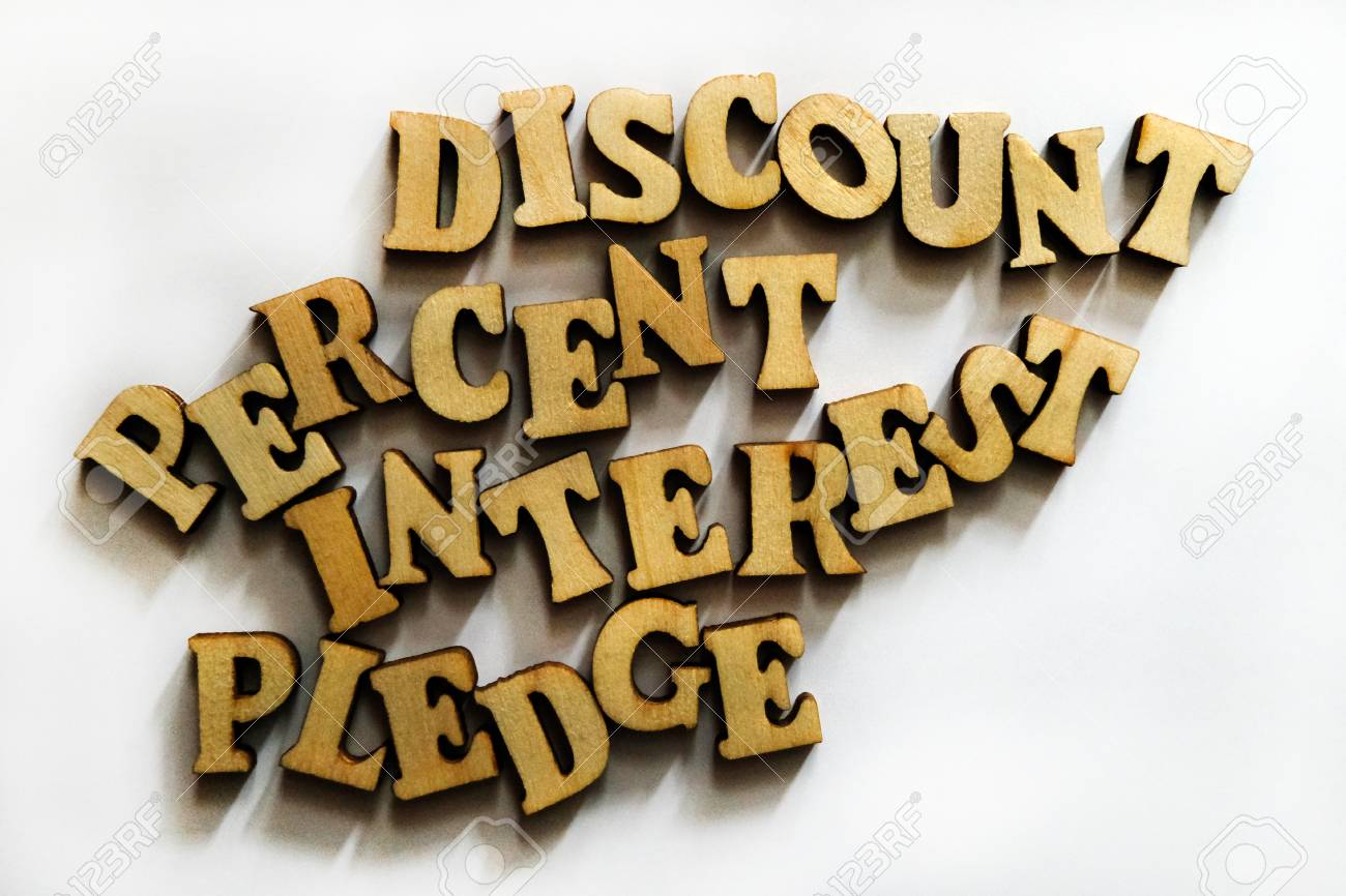 Discount Interest Percent And Pledge Words Made Of Wooden 1300x866