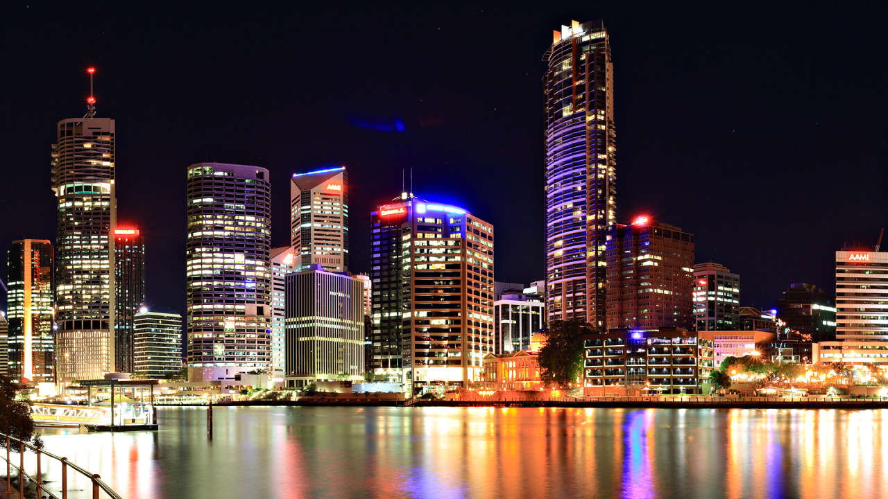 Colored City Night Lights wallpaper 1280x720