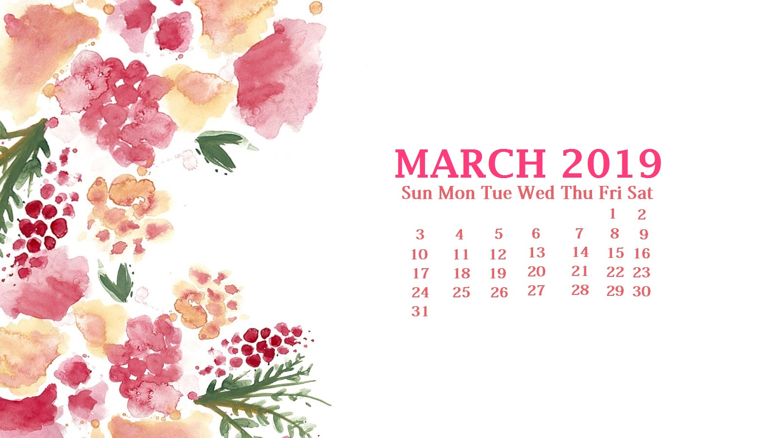 March 2019 Desktop Wallpaper Calendar Latest Calendar 1600x900