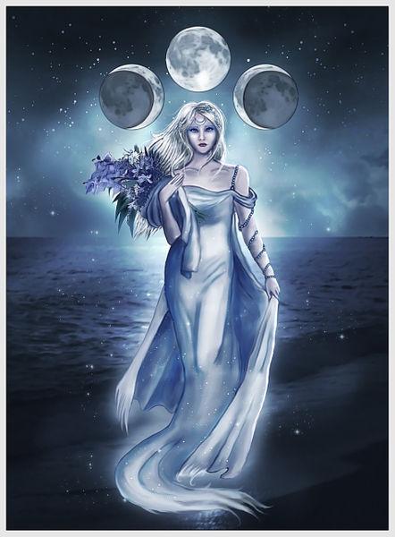 The Moon Goddess Digital Art art prints and posters by Linda Kindt 442x600