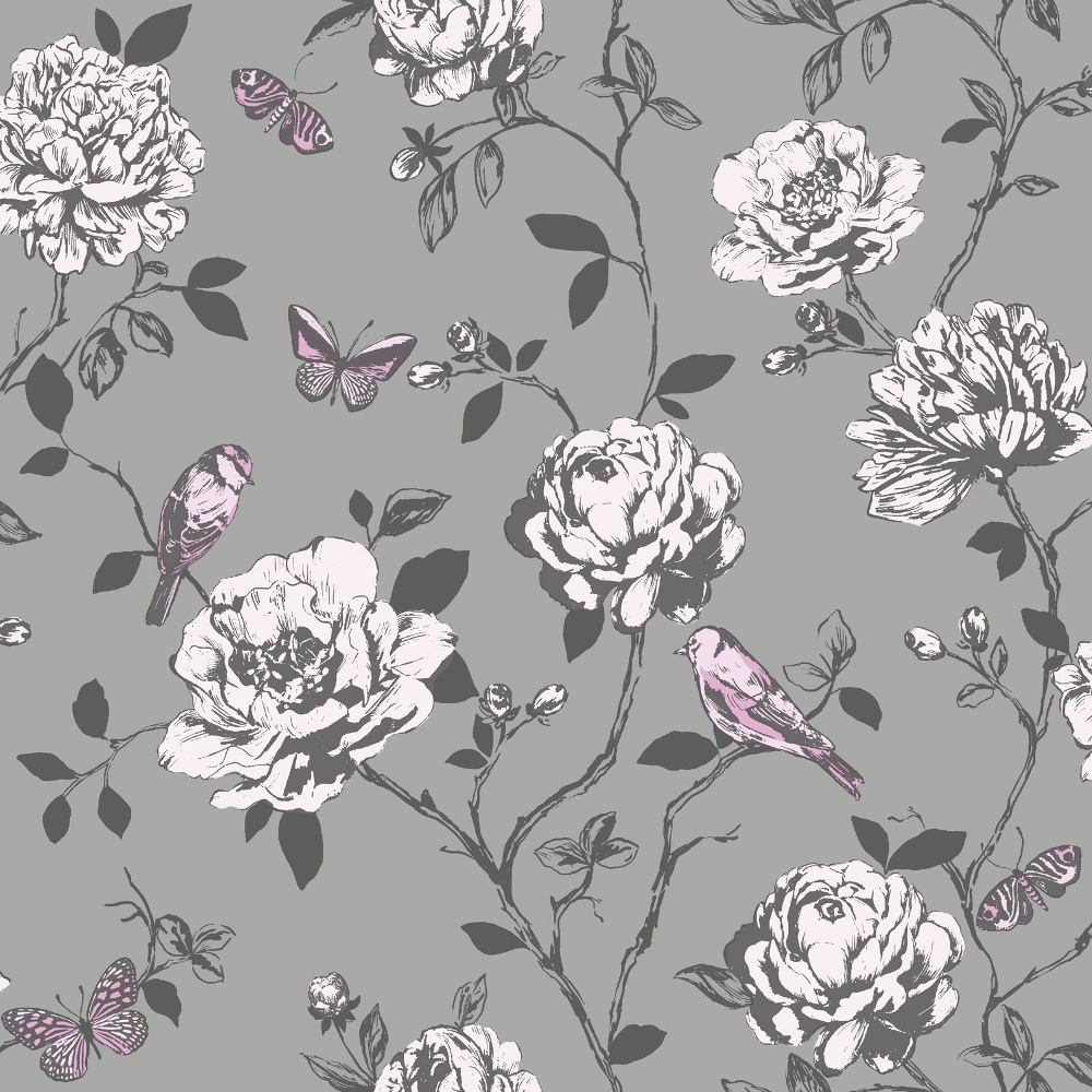 Free Download Amour Flower Bird Butterfly Floral Pattern Silver
