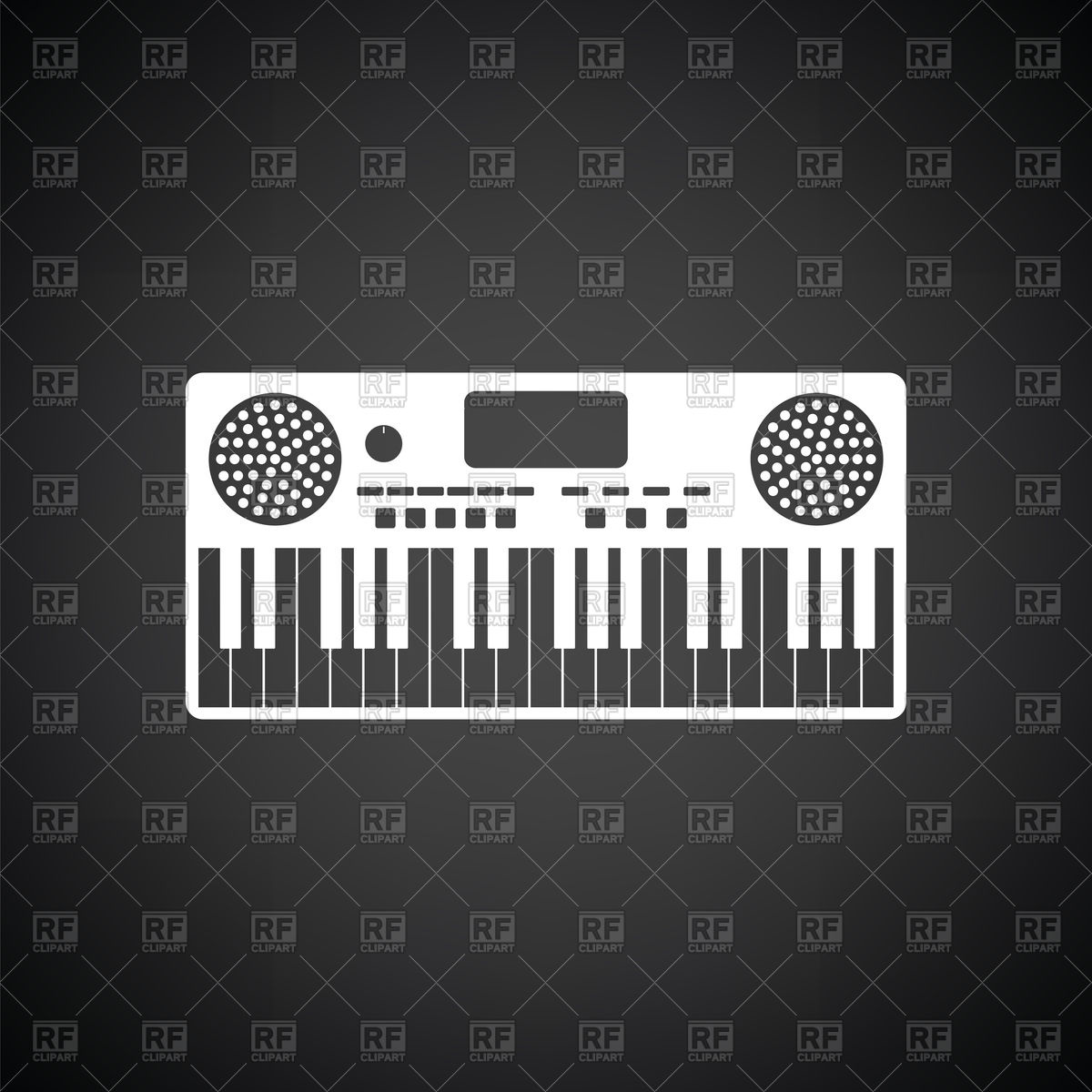Music synthesizer icon on black background Vector Image of Icons 1200x1200