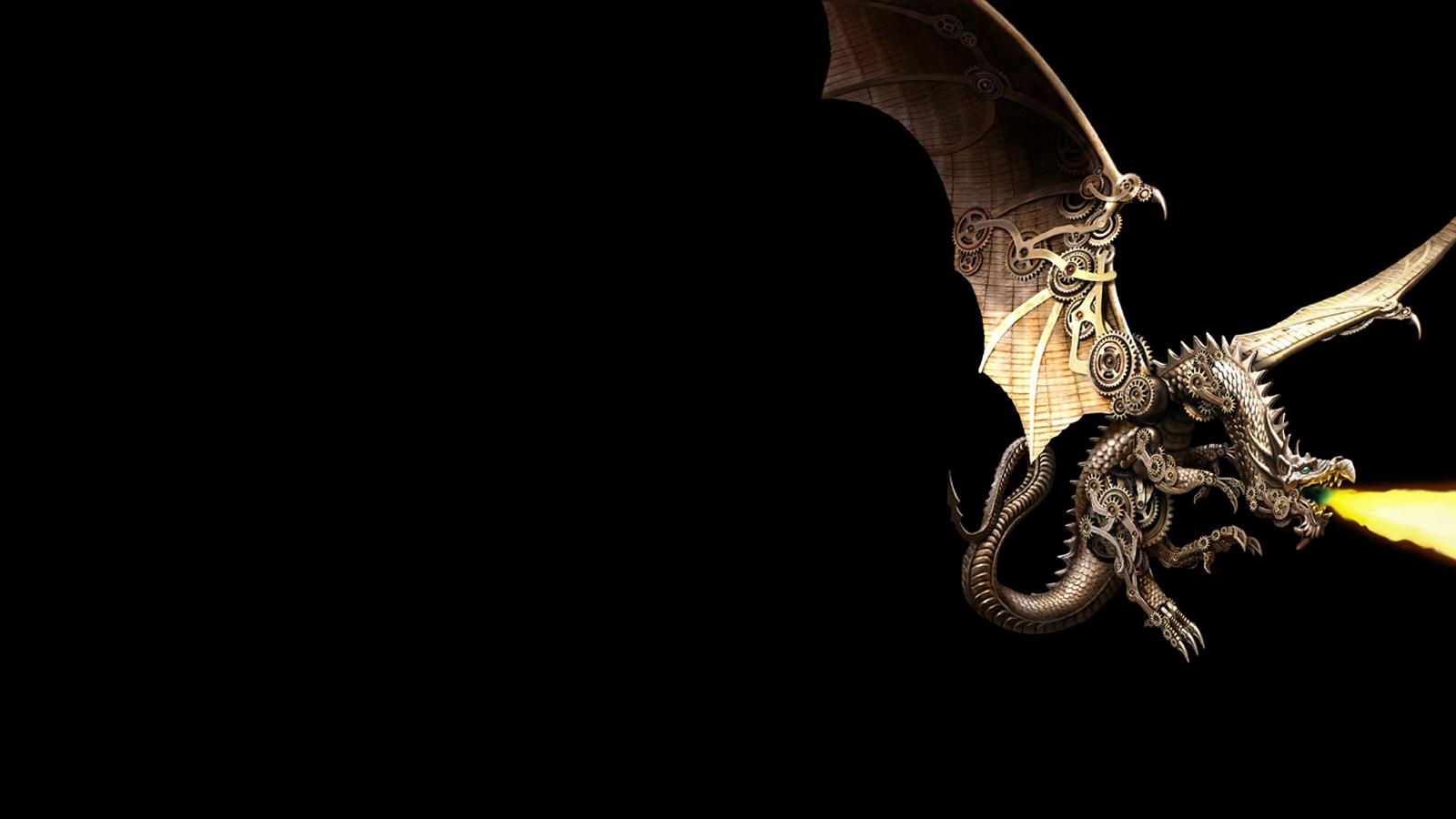 Dragon Black Gears Steampunk Machine mechanical wallpaper background 1600x900
